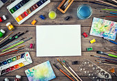 istock Blank artist canvas and art accessories. 1231387119