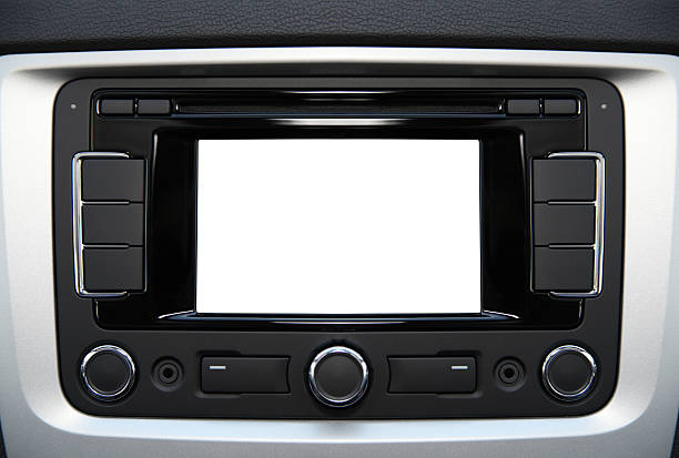 Blank audio and navigation system stock photo