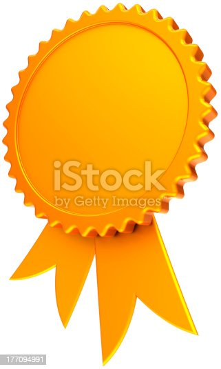 istock Blank award ribbon success design element total golden medal 177094991