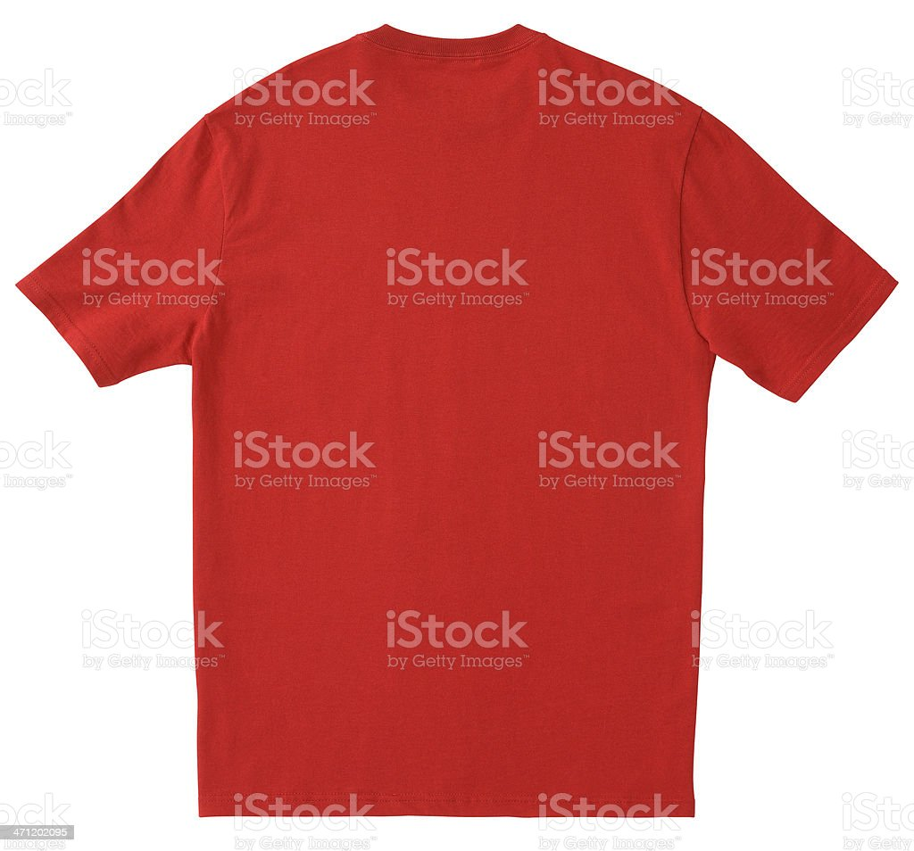 Blank BACK of Red T-Shirt with Clipping Path. stock photo