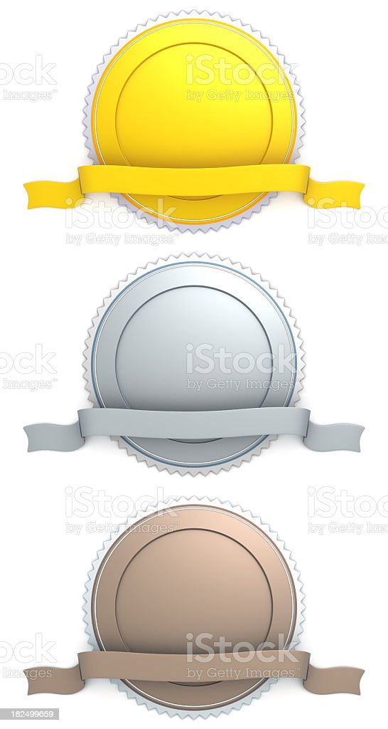 Blank badge gold silver bronze stock photo