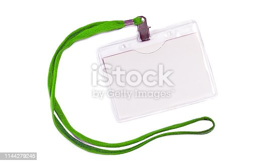 istock Blank badge mockup with green ribbon 1144279245