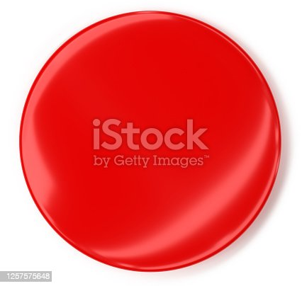 blank badge, isolated on white background, red 3d rendering