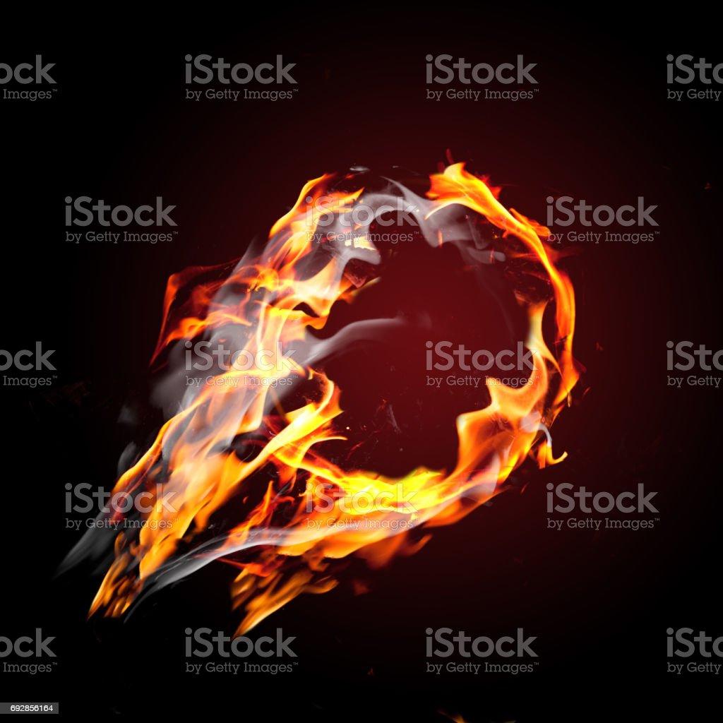 Blank ball on fire stock photo