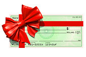 Blank bank check with red bow, 3D rendering isolated on white background