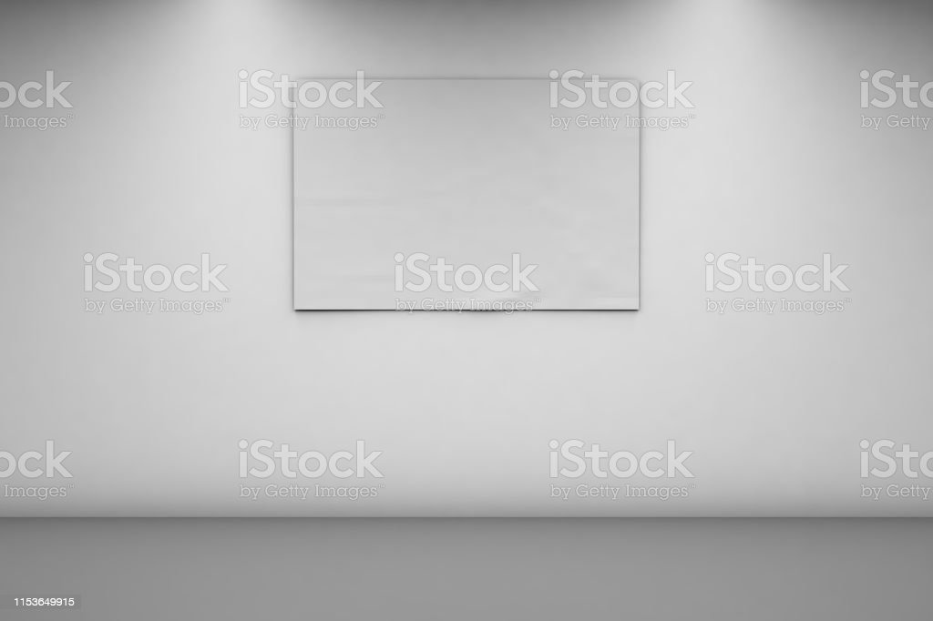 Blank Banner 1 x 2 on a white wall. Horizontal banner in an empty...
