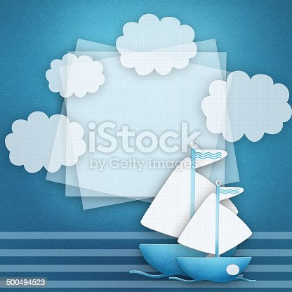 istock Blank banner and blue boat on fabric background. 500494523