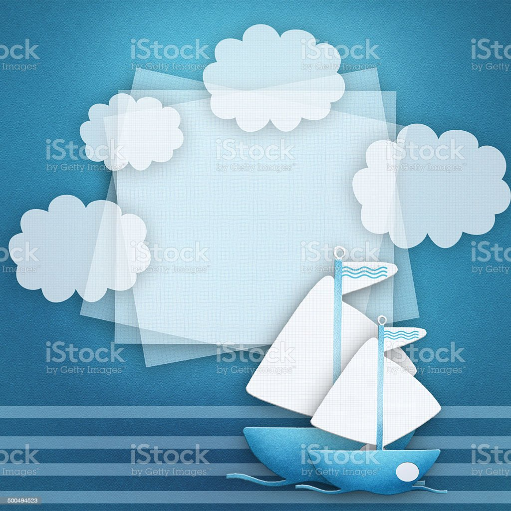 Blank banner and blue boat on fabric background. stock photo