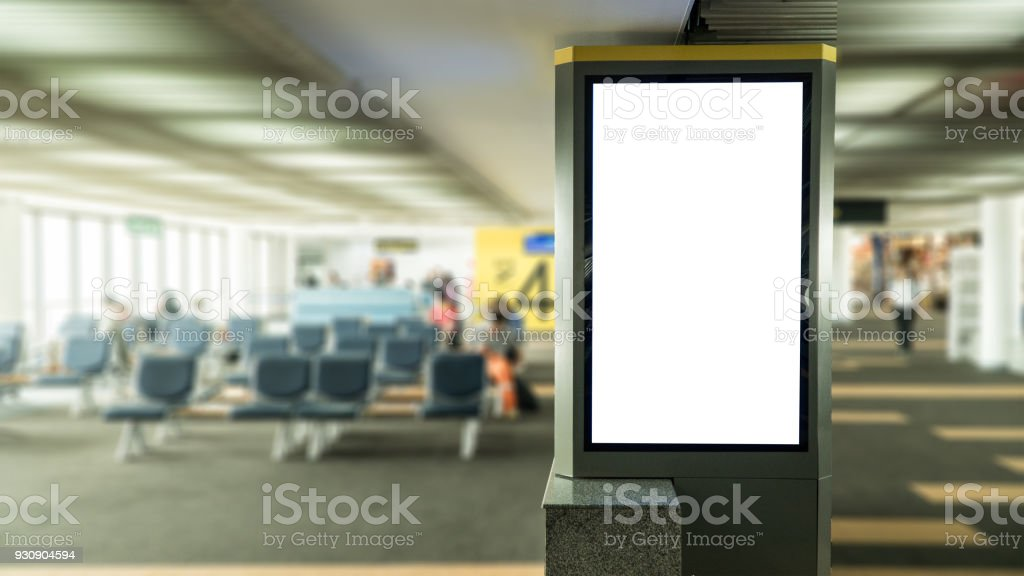 blank banner display in airport gate stock photo
