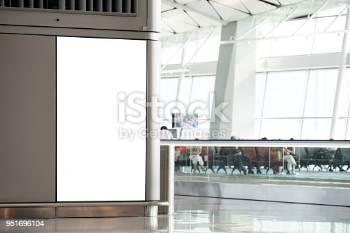 istock blank banner display mock up in airport gate 951696104
