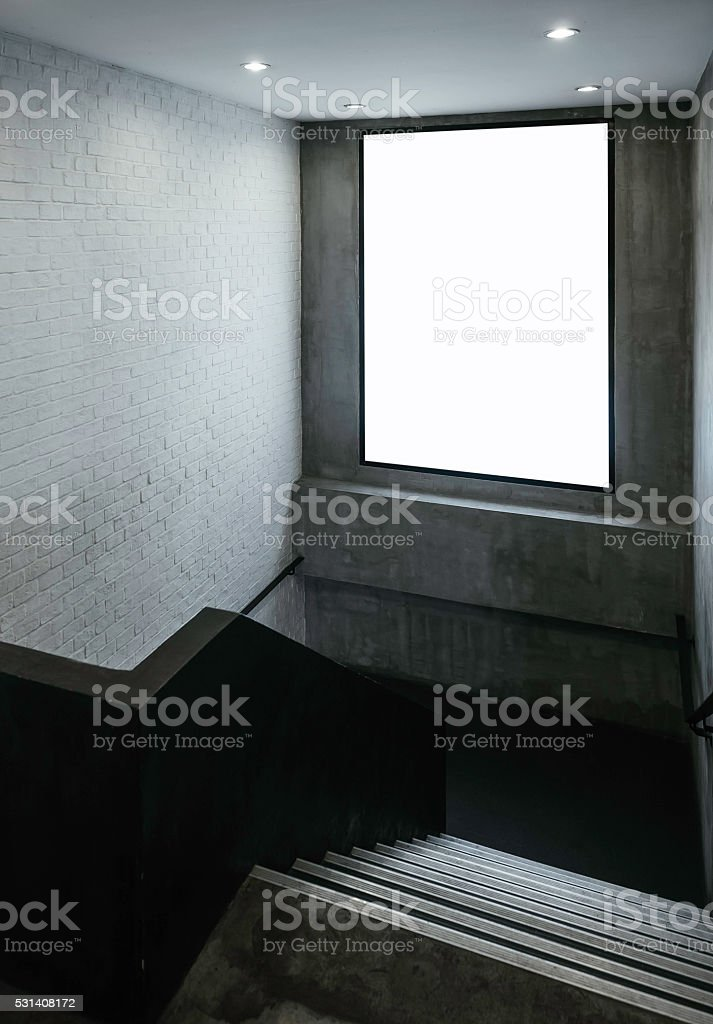 Blank Banner Mock up light box Sign indoor with stairs stock photo