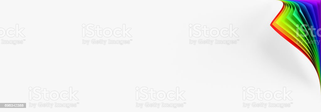 Blank banner mockup with rainbow colored curled corner stock photo
