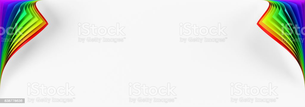 Blank banner mockup with two rainbow colored curled corners stock photo