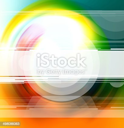Abstract design of a blank white horizontal banner on spectral colors in concentric circles with a predominace of color hues.