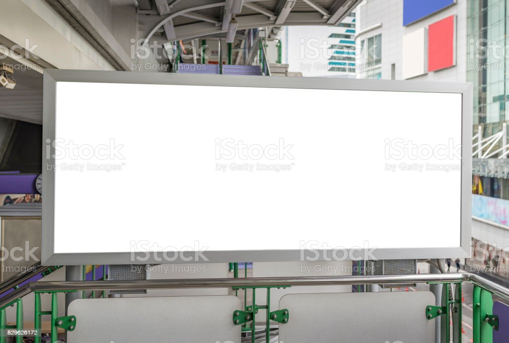 Blank banner poster on the walk path stair  of in BTS station Thailand stock photo