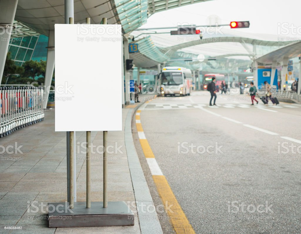 Blank Banner stand Building Airport shuttle bus service stock photo