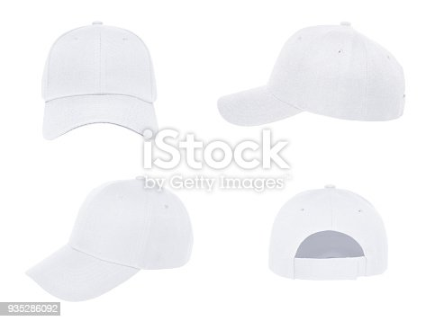 Blank baseball cap 4 view color white on white background