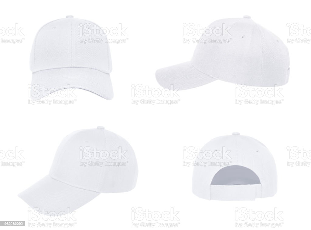 Blank baseball cap 4 view color white stock photo