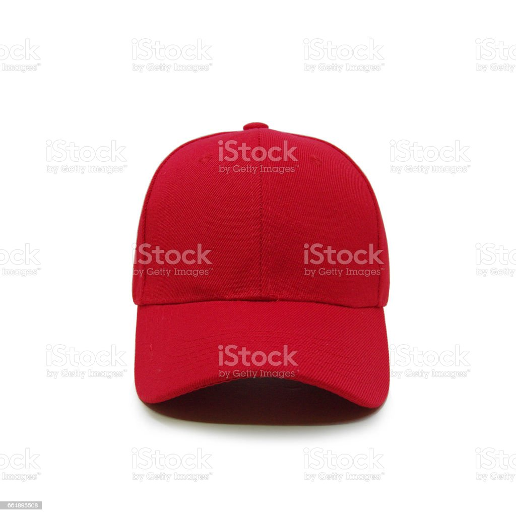Blank baseball cap color red stock photo