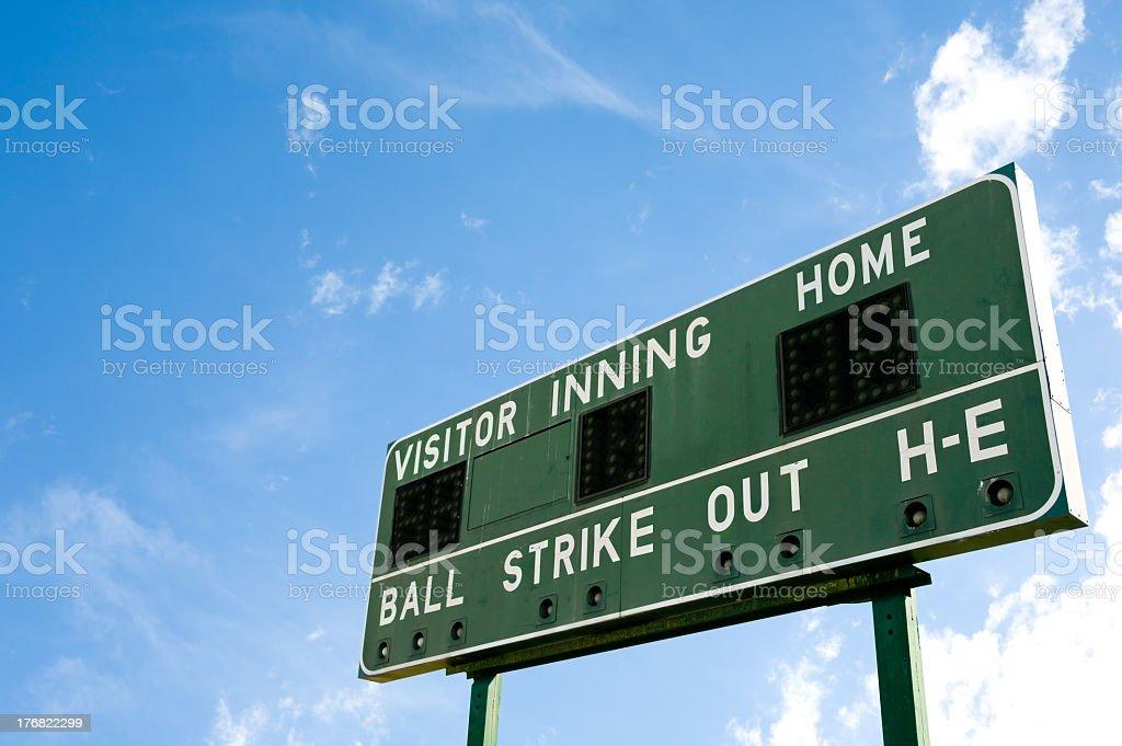 Blank baseball scoreboard against the sky stock photo