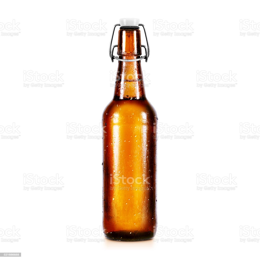 Blank beer bottle mockup without label, stand isolated stock photo