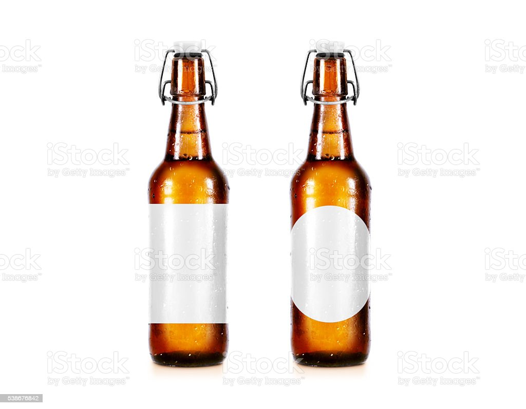 Blank beer bottle mockup without label, stand isolated. stock photo