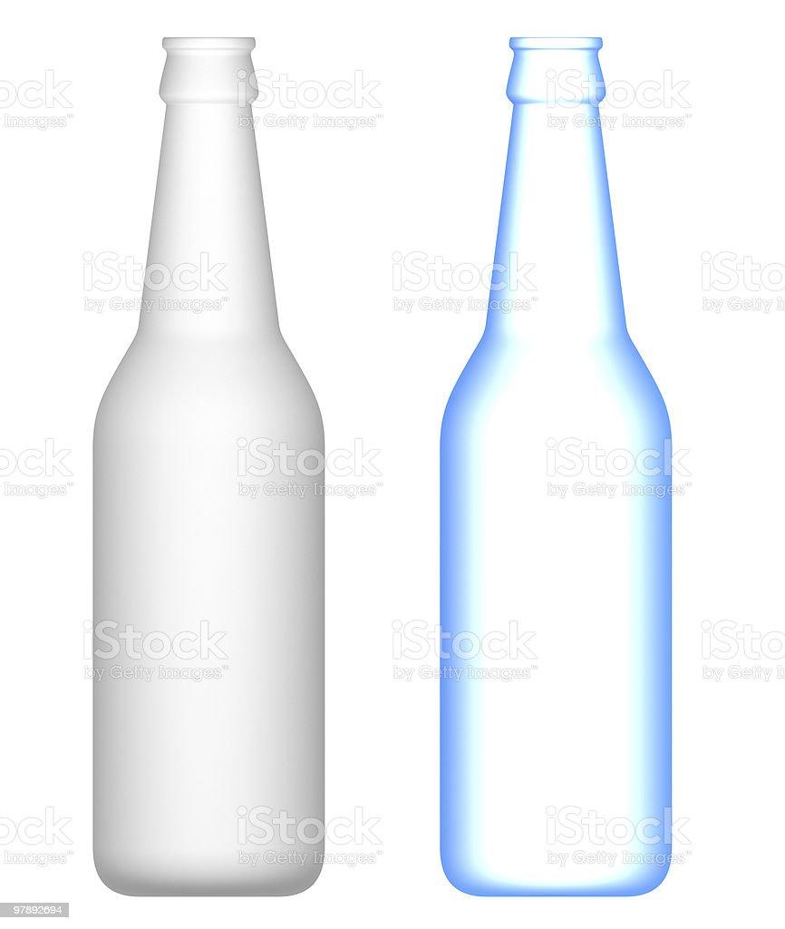 Blank beer bottles . Ortogonal view. royalty-free stock photo