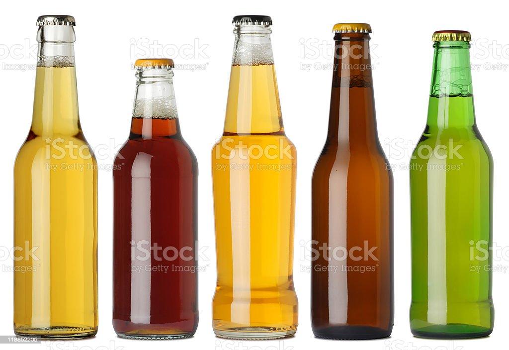 Botellas de cerveza en blanco - foto de stock
