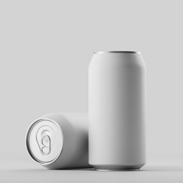 Blank beer, cola, soda aluminium grey can stock photo