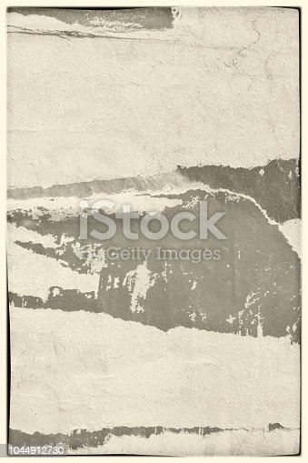 1087065964 istock photo Blank beige brown sepia old ripped torn paper crumpled creased posters grunge textures backdrop backgrounds placard 1044912730