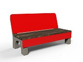Blank bench billboard display for advertising. 3d illustration.