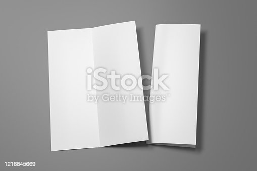 1172913654 istock photo Blank bi-fold vertical A4 leaflet cover. Bi-fold or half-fold opened and folded brochure isolated with clipping path. 1216845669