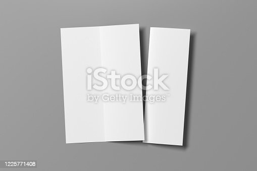 1172913654 istock photo Blank bi-fold vertical A4 leaflet cover. Bi-fold or half-fold opened and folded brochure isolated with clipping path. 1225771408