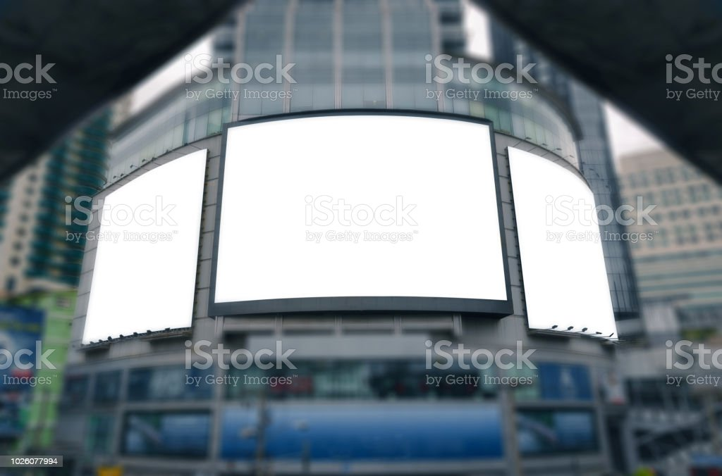 Blank Big Billboard White Led Screen With Clipping Path On Building