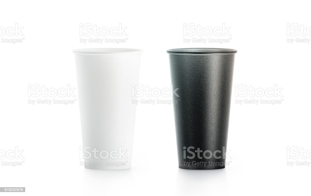 Blank big black and white disposable paper cup mock up stock photo