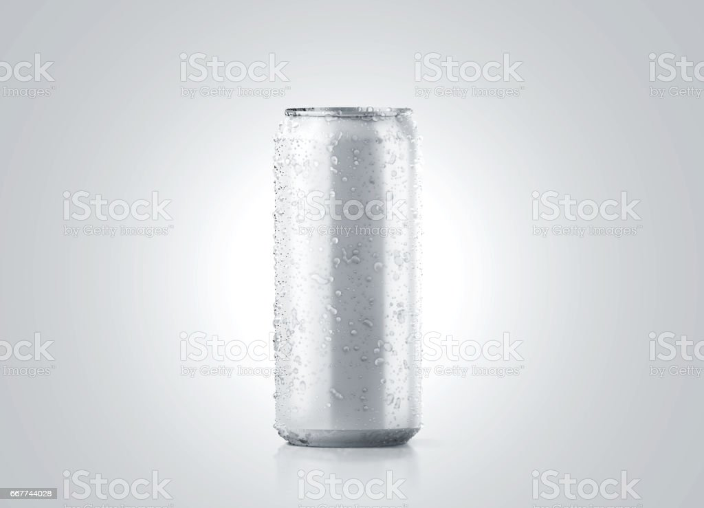 Blank big cold aluminium beer can mockup with drops, 500 ml stock photo