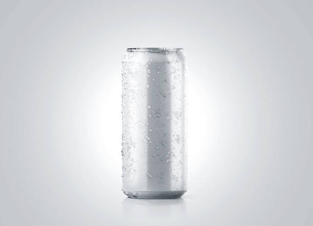 Blank big cold aluminium beer can mockup with drops, 500 ml stock photo