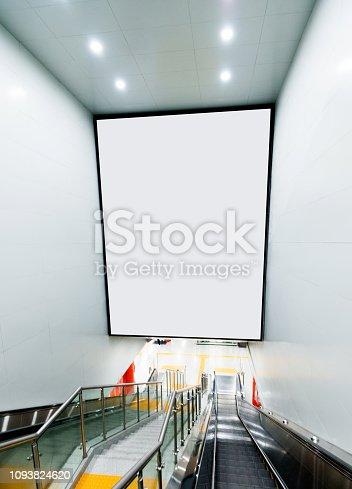 istock Blank billboard above the escalator 1093824620