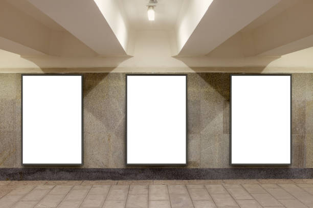 Blank billboard advertisement poster Three blank billboard advertisement posters on underground wall. 3d illustration underground stock pictures, royalty-free photos & images