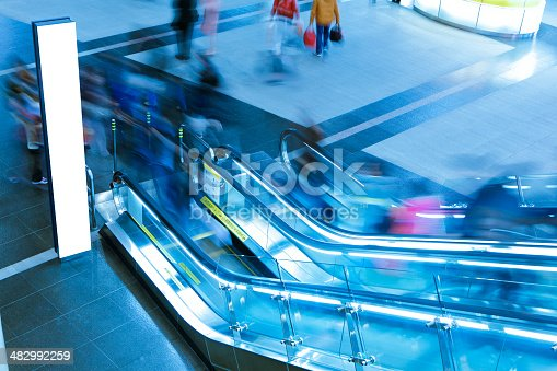 istock Blank Billboard and busy people 482992259