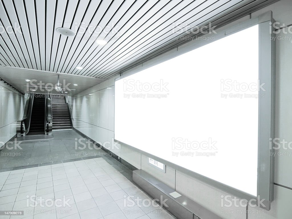 Blank billboard and staircase royalty-free stock photo