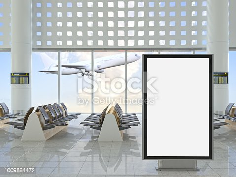 istock Blank Billboard at Airport 1009864472
