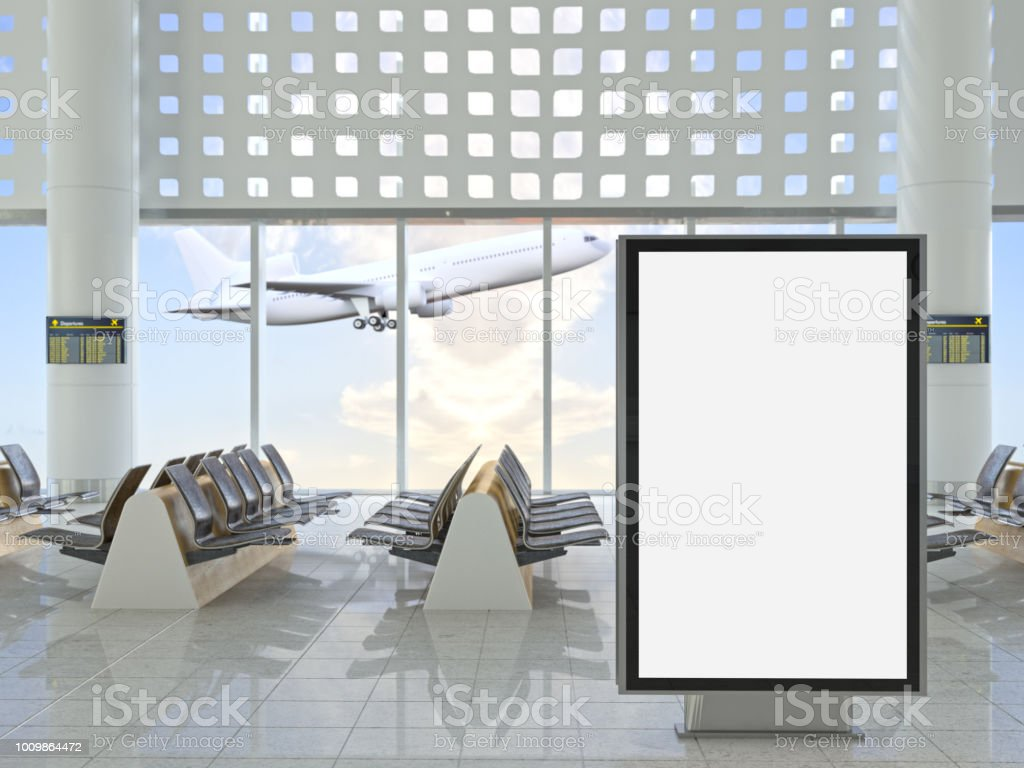 Blank Billboard at Airport stock photo