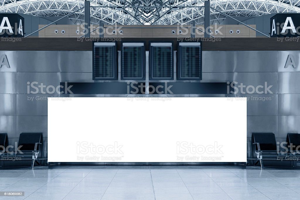 Blank billboard at airport stock photo