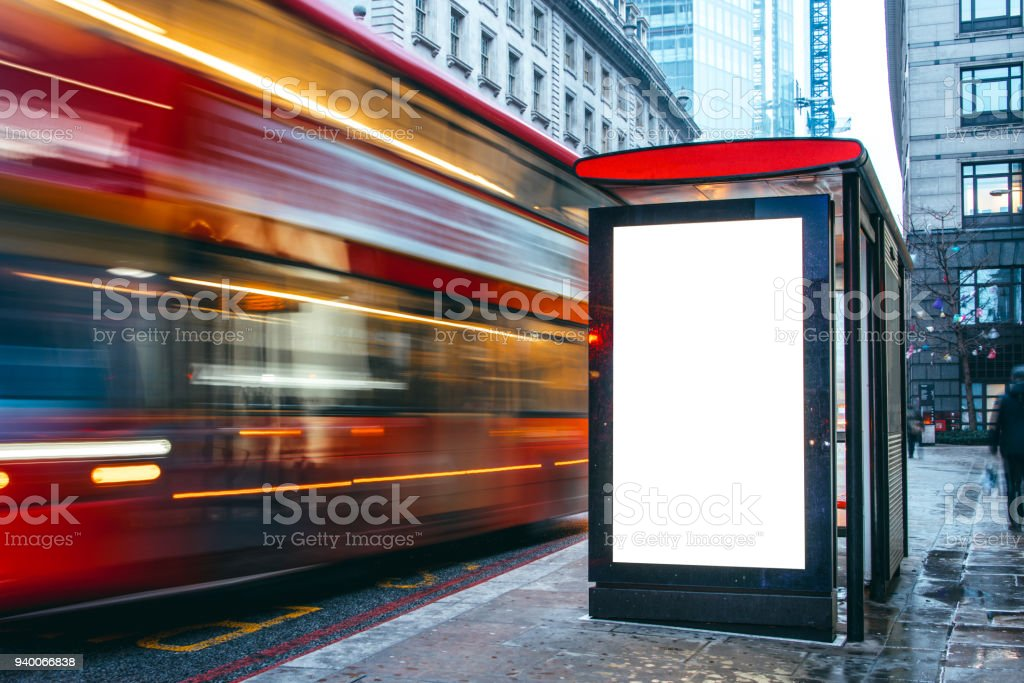 Blank billboard at bus station - foto stock