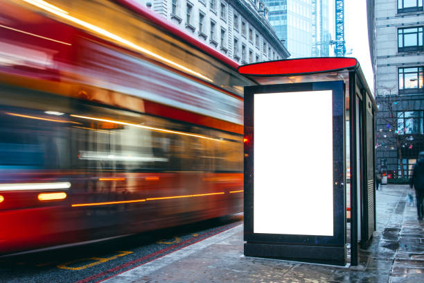 blank billboard at bus station - advertisement stock photos and pictures