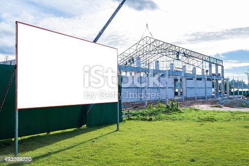 istock Blank billboard at construction site 493269220