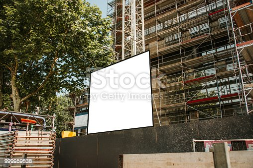 istock Blank billboard at construction site 999959838