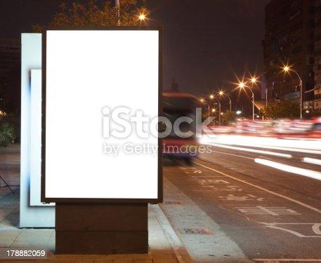 istock Blank billboard at night in the city Street 178882059