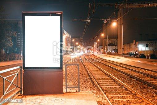 istock Blank billboard at night 1024968752